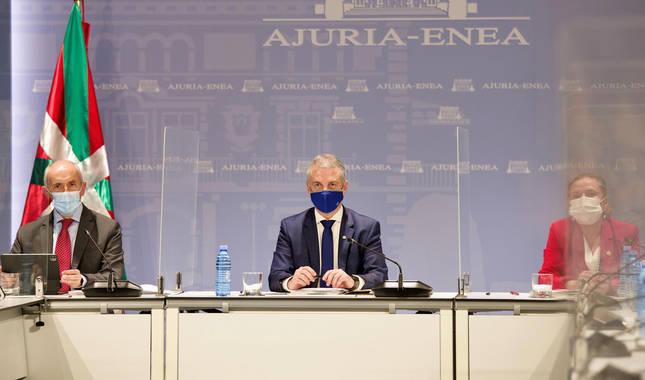 El lehendakari Iñigo Urkullu ha presidido la reunión del comité asesor del Plan de Protección Civil de Euskadi para informar de las restricciones que se aplicarán en Euskadi a partir del domingo, cuando decaiga el estado de alarma.