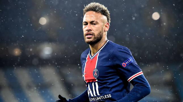 Neymar, en el partido de la Champions entre el Manchester City y el PSG.