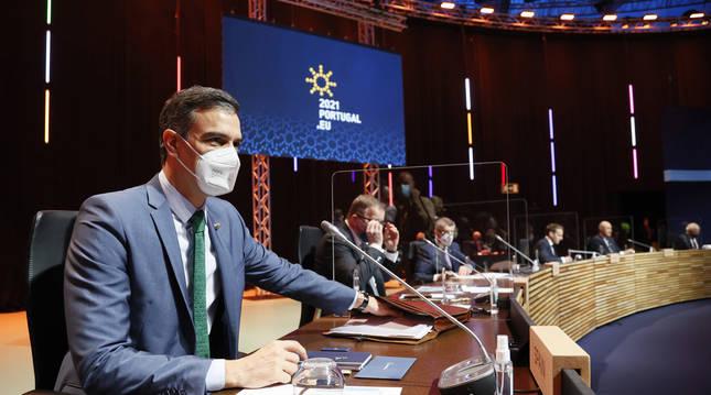 Pedro Sánchez, durante la cumbre del Consejo Europeo en Oporto.