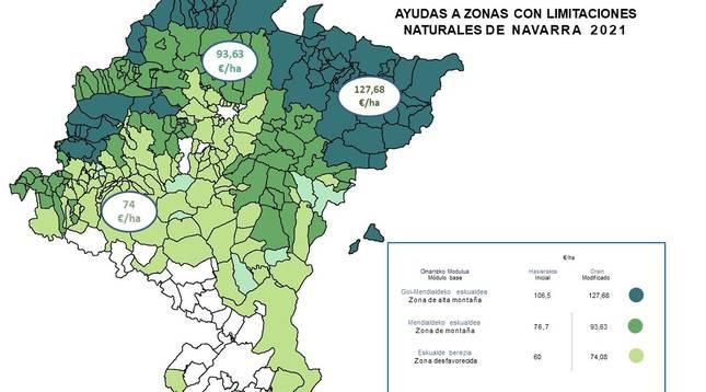 Infografía de las zonas con limitaciones naturales para el sector agrario