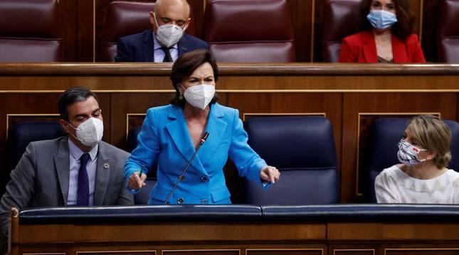 Carmen Calvo, este miércoles en la sesión de control al Gobierno.