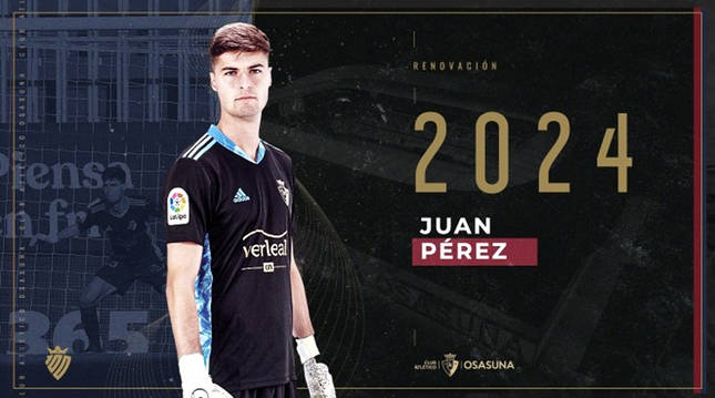 Juan Pérez renueva con Osasuna hasta 2024.