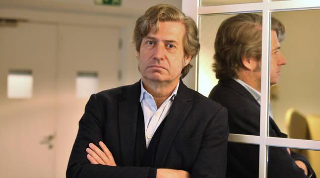 Javier Gomá, instantes antes del encuentro que tuvo en Pamplona invitado por la asociación Co.CiudadaNa.