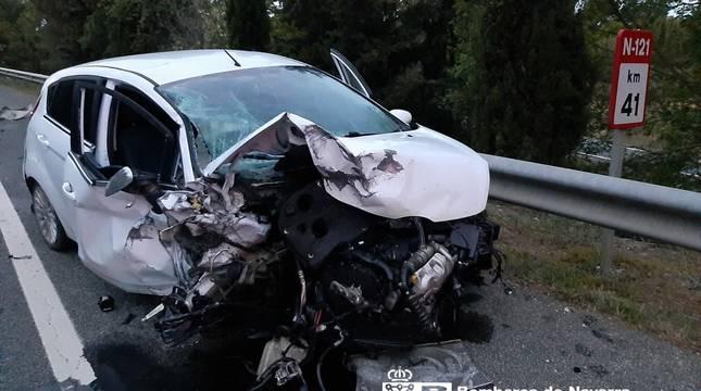 Cuatro heridos en un accidente en Olite