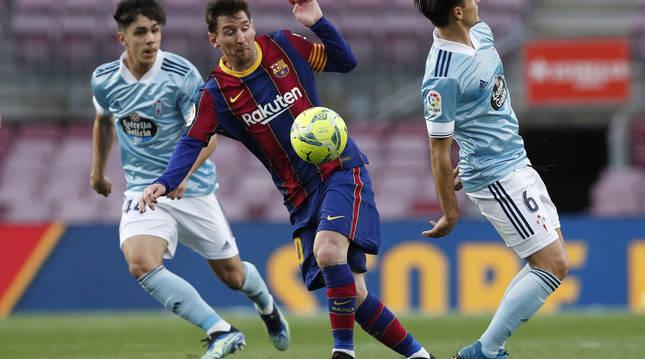 Lance del partido entre Barcelona y Celta.