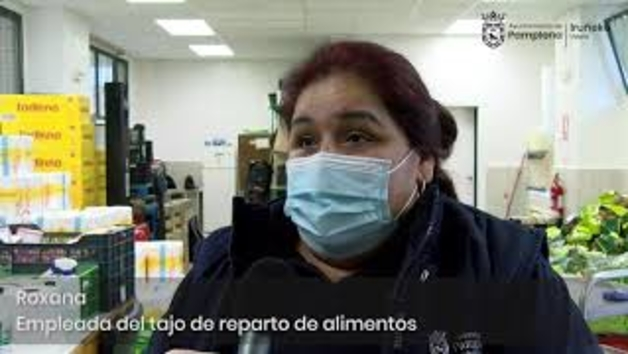 Vídeo del reparto de alimentos a familias necesitadas en Pamplona