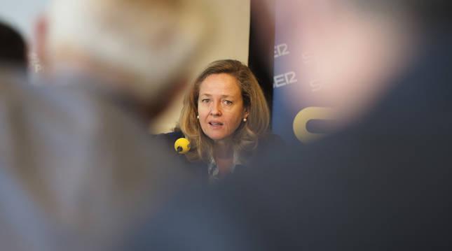Nadia Calviño, durante su visita a Pamplona este lunes 17 de mayo.