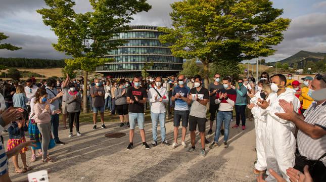Protesta de trabajadores de Siemens Gamesa por el cierre de la planta de Aoiz durante el pasado verano.