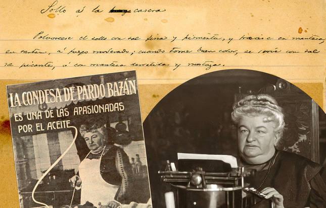 Receta manuscrita, anuncio y retrato de Emilia Pardo Bazán.