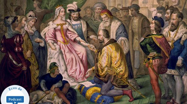 Cristóbal Colón, recibido por los Reyes Católicos en Barcelona.
