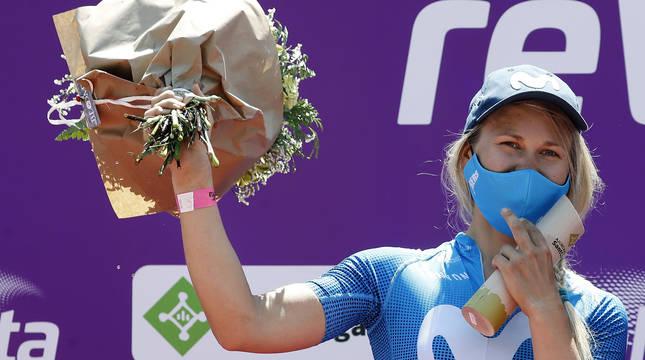 La ciclista noruega Katrine Aalerud, del equipo Movistar Team, vencedora de la reVolta en su segunda edición,