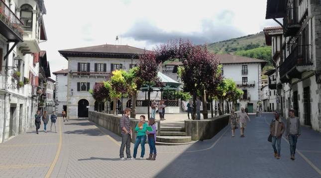 Fotomontaje de la propuesta ideada para la plaza Zaharra.