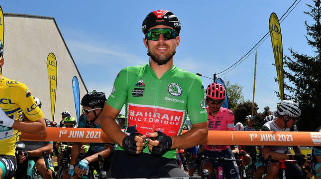 El ciclista italiano Sonny Colbrelli (Team Bahrain Victorious), ganador de la tercera etapa del Dauphiné.