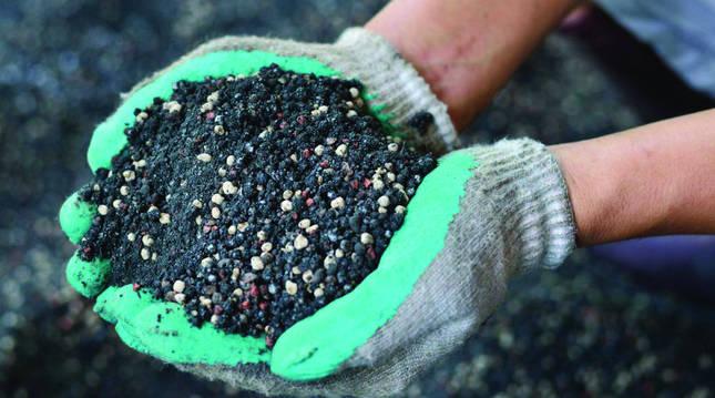 Un agricultor lleva en sus manos fertilizantes basados en nitrógenos.