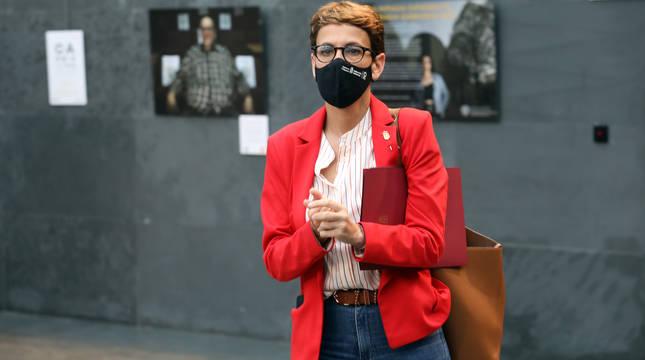 Imagen de la presidenta María Chivite, este jueves en el Parlamento foral.