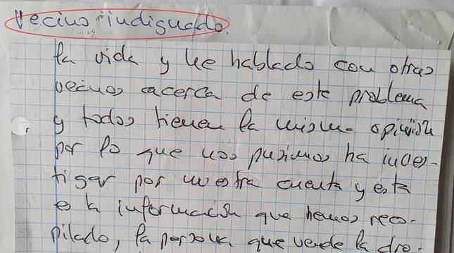 Detalle de la carta del vecino de la Txantrea a la Policía Foral.