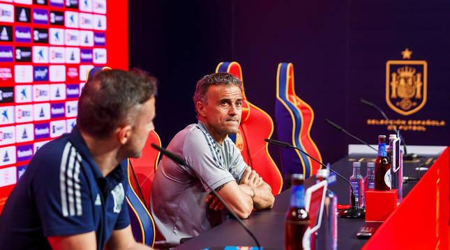 El seleccionador Luis Enrique durante la rueda de prensa en la Cuidad de Fútbol de Las Rozas.