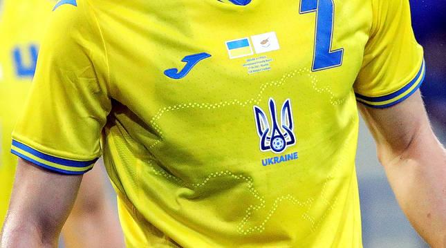 El ucraniano Eduard Sobol con la camiseta de la selección durante el amistoso del pasado lunes, 7 de junio, contra Chipre.