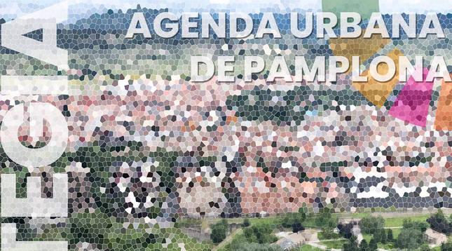 Cartel de la Estrategia 2030 - Agenda Urbana de Pamplona.