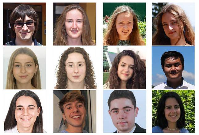 Algunos de los alumnos con mejores calificaciones de la EvAU 2021 en Navarra
