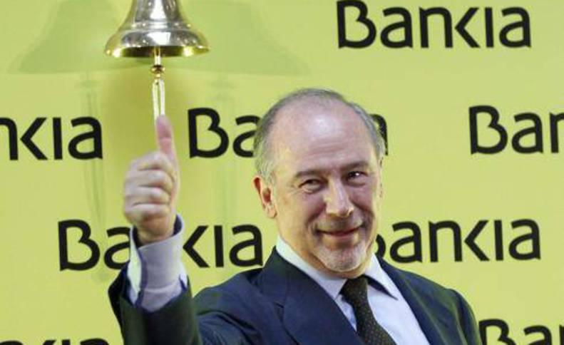 El expresidente de Bankia, Rodrigo Rato, durante la salida a Bolsa de la entidad.