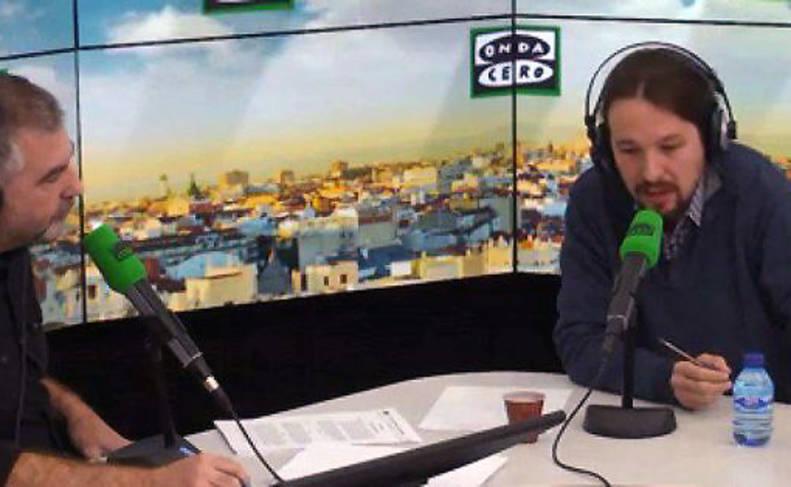 Imagen de Pablo Iglesias durante la entrevista en Onda Cero.