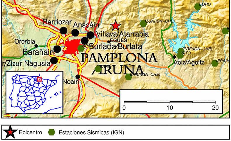Epicentro del terremoto en Egüés