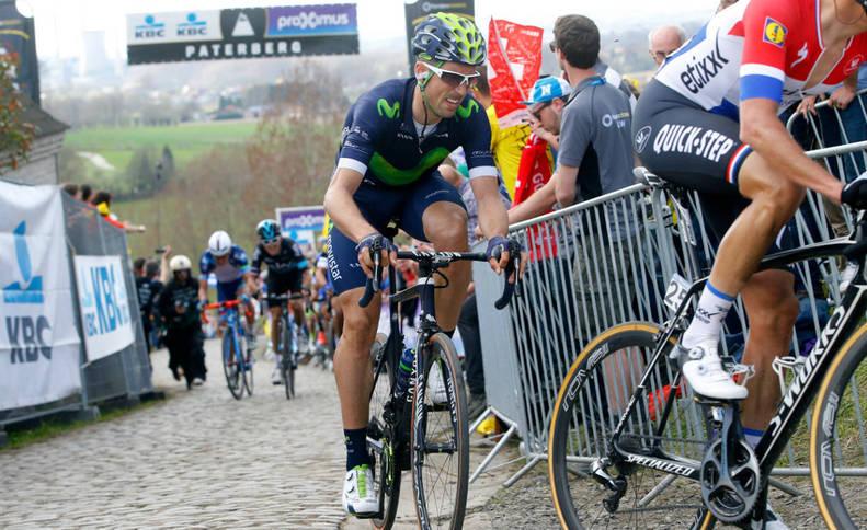 Imanol Erviti en acción en la última edición del Tour de Flandes, en el que terminó en séptima posición. Una proeza.