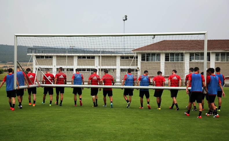 Imagen de un entrenamiento la pasada campaña en Tajonar