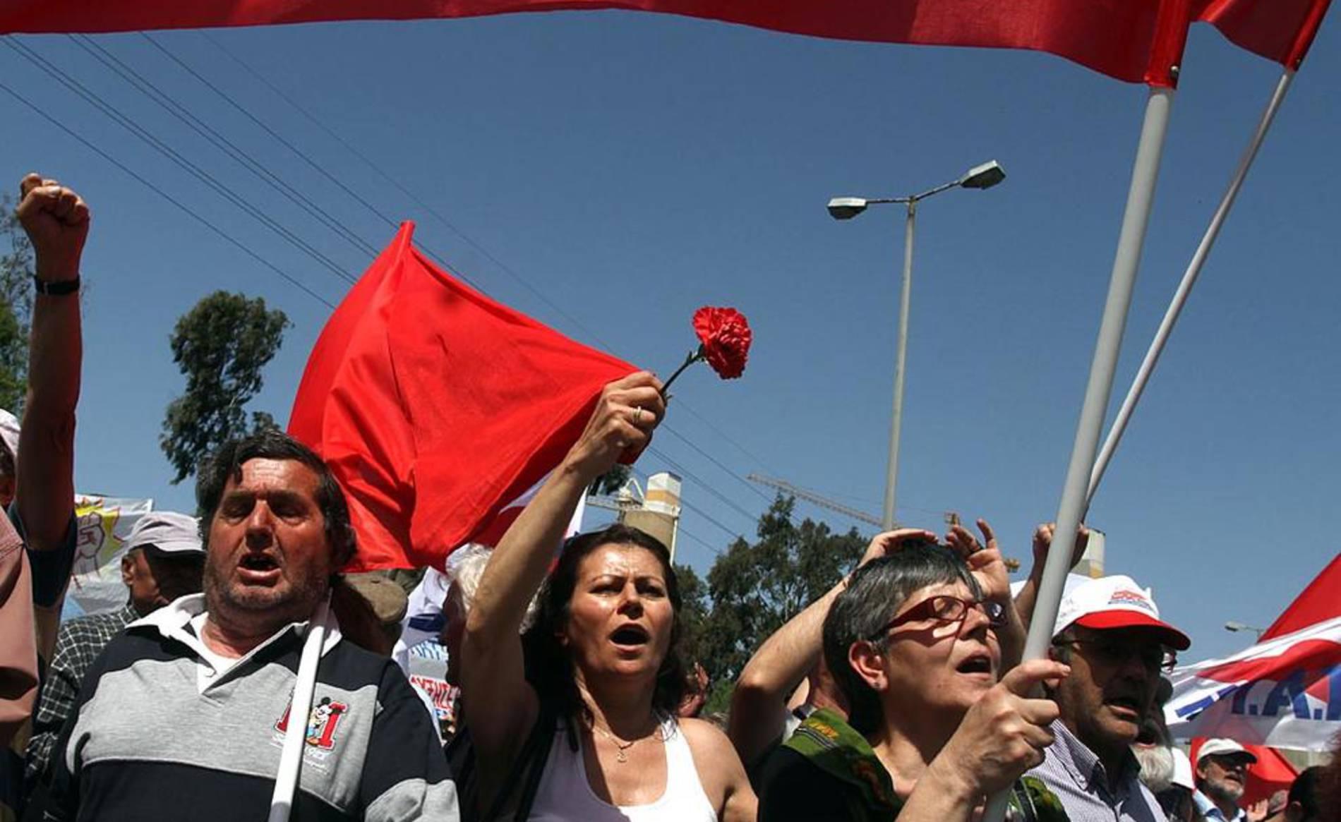 Varias imágenes de las concentraciones del 1 de mayo en distintos países