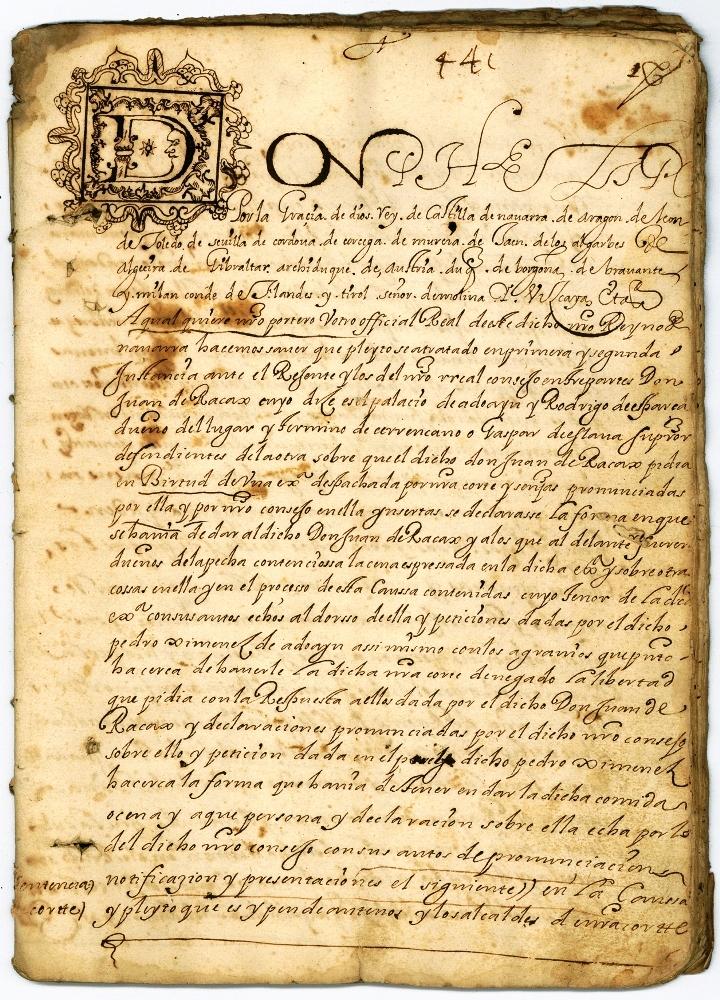Provisión Real de Felipe III, de 1605, entre los documentos del fondo familiar Ladrón de Cegama. GOB. DE NAVARRA