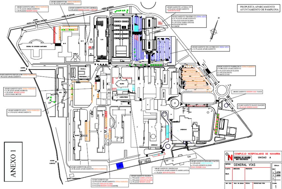 Mapa Pabellones Hospital De Navarra.El Aparcamiento De Hospitales Tambien Sera Zona Azul Y Naranja Noticias De Pamplona En Diario De Navarra