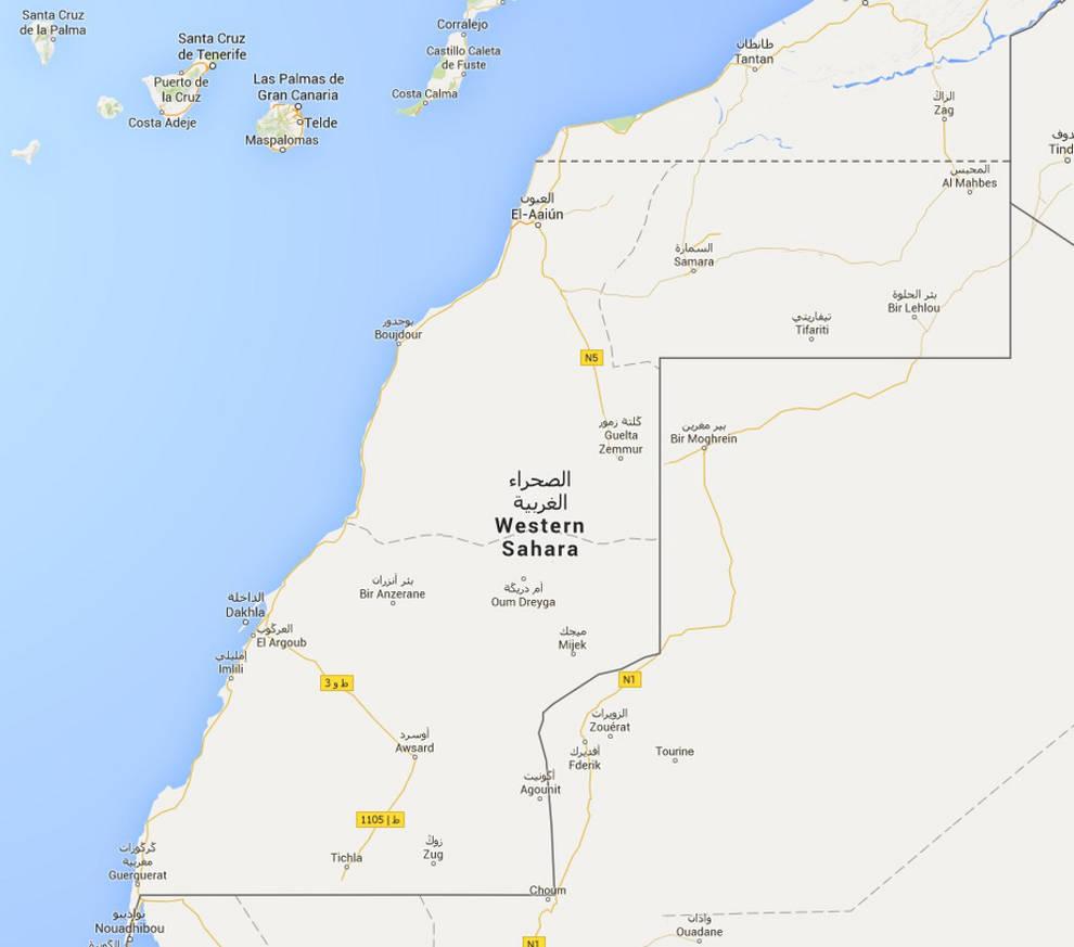Google maps piden que google corrija el mapa del shara occidental google maps separa con una lnea discontinua de puntos el territorio que llama shara occidental gumiabroncs Choice Image