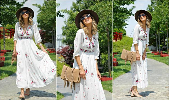 Combinacion de vestido blanco largo