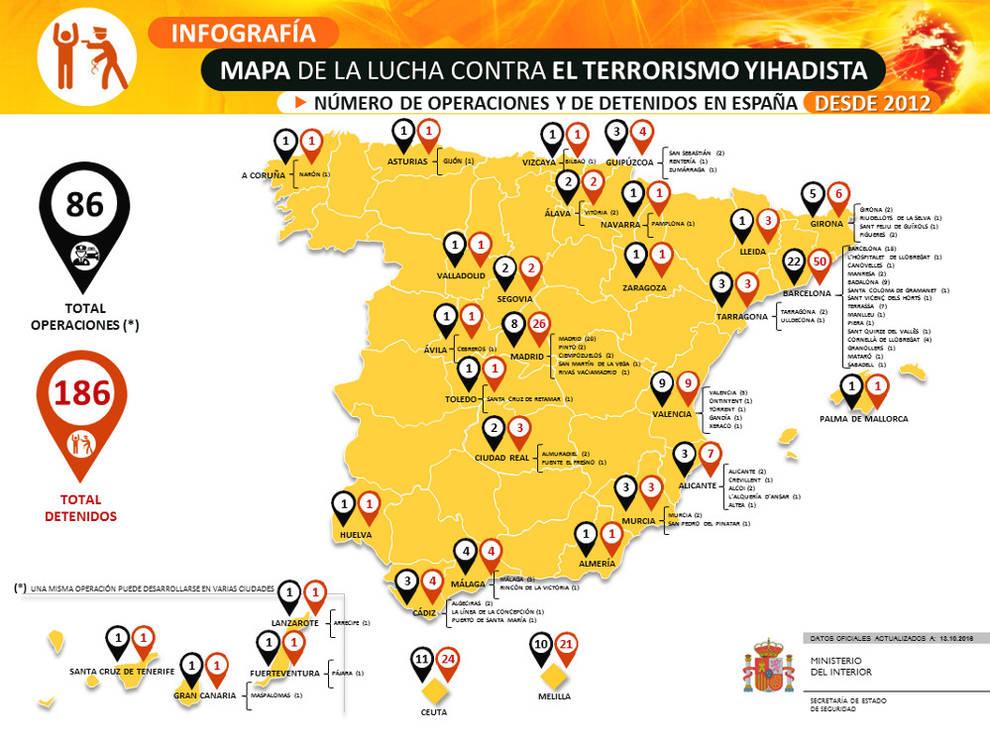 Interior cuelga en su web el mapa del yihadismo en espa a for Ministerio del interior ubicacion mapa