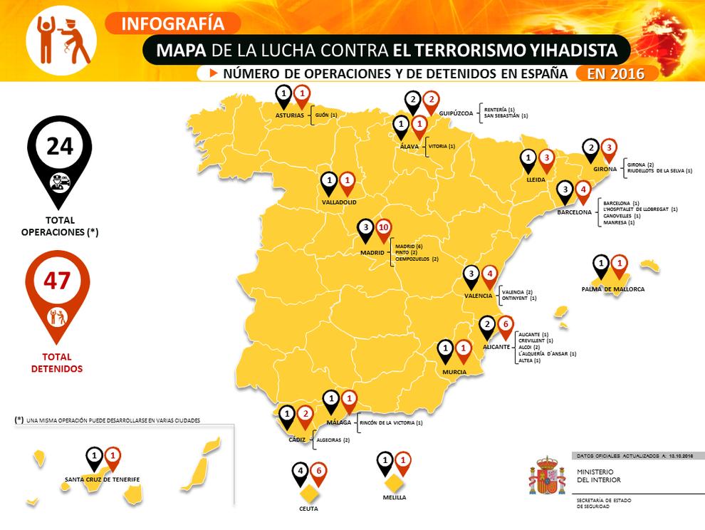 Interior cuelga en su web el mapa del yihadismo en espa a for Direccion ministerio del interior madrid