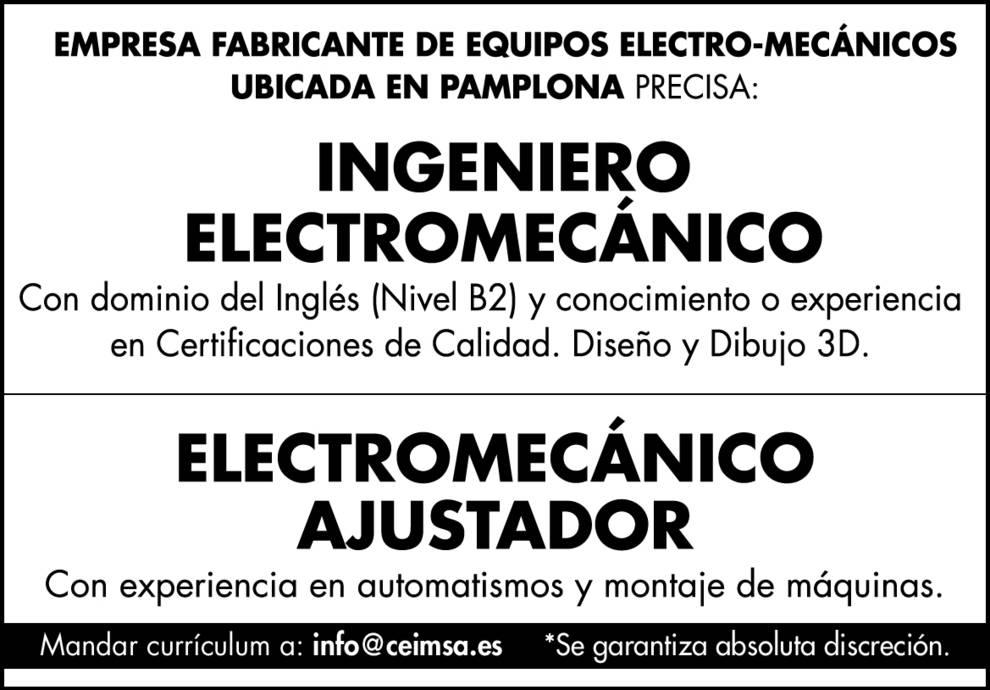 Ingeniero electromecánico empleo