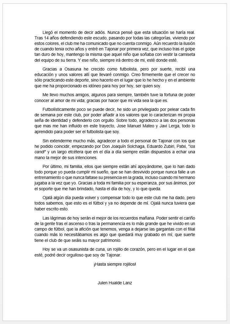 Carta de despedida de Julen Hualde.
