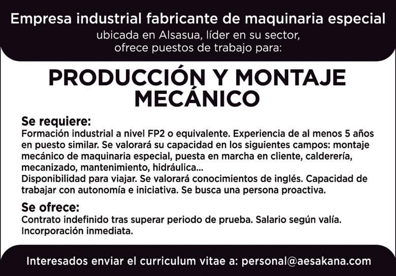 Produccion y montaje mecanico