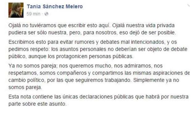 Carta en Facebook confirmando la ruptura de Tania Sánchez y Pablo Iglesias