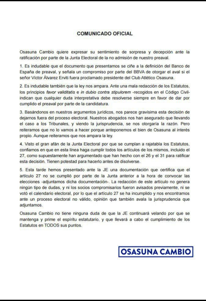 Comunicado de Osasuna Cambio