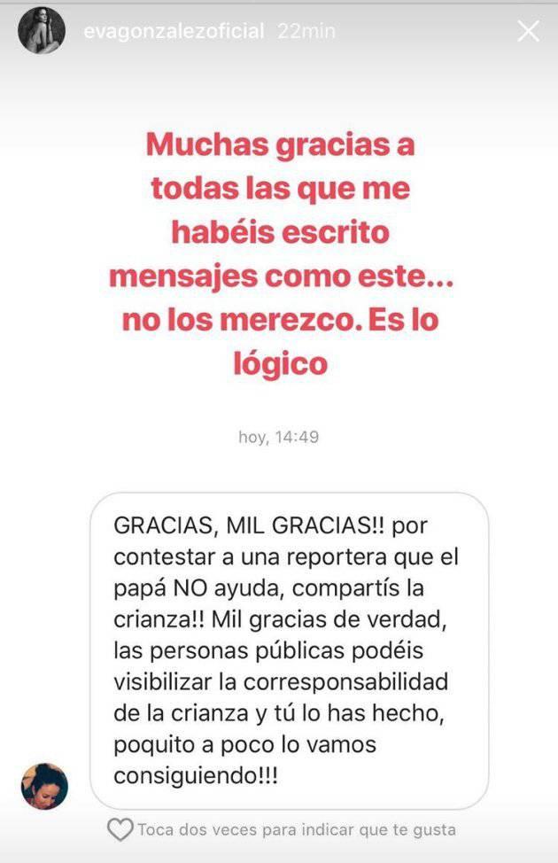 La reivindicación feminista de Eva González sobre la crianza de su bebé