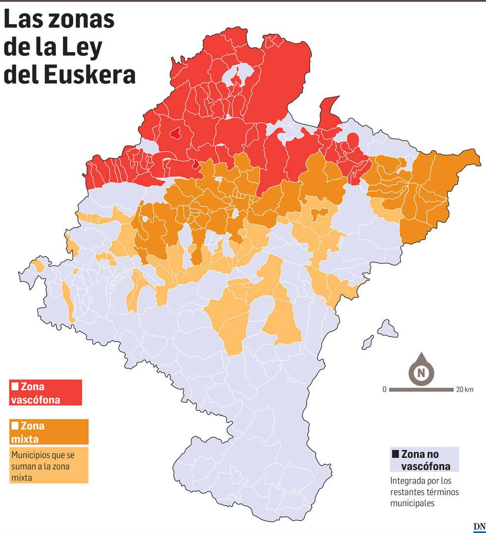 Las zonas de la Ley del Euskera