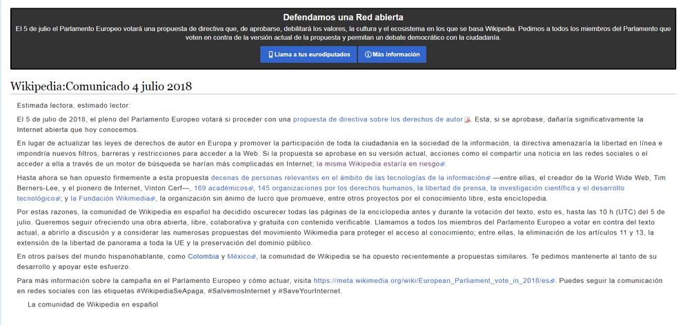 La Wikipedia en español, en riesgo y cerrada hasta el 5 de julio