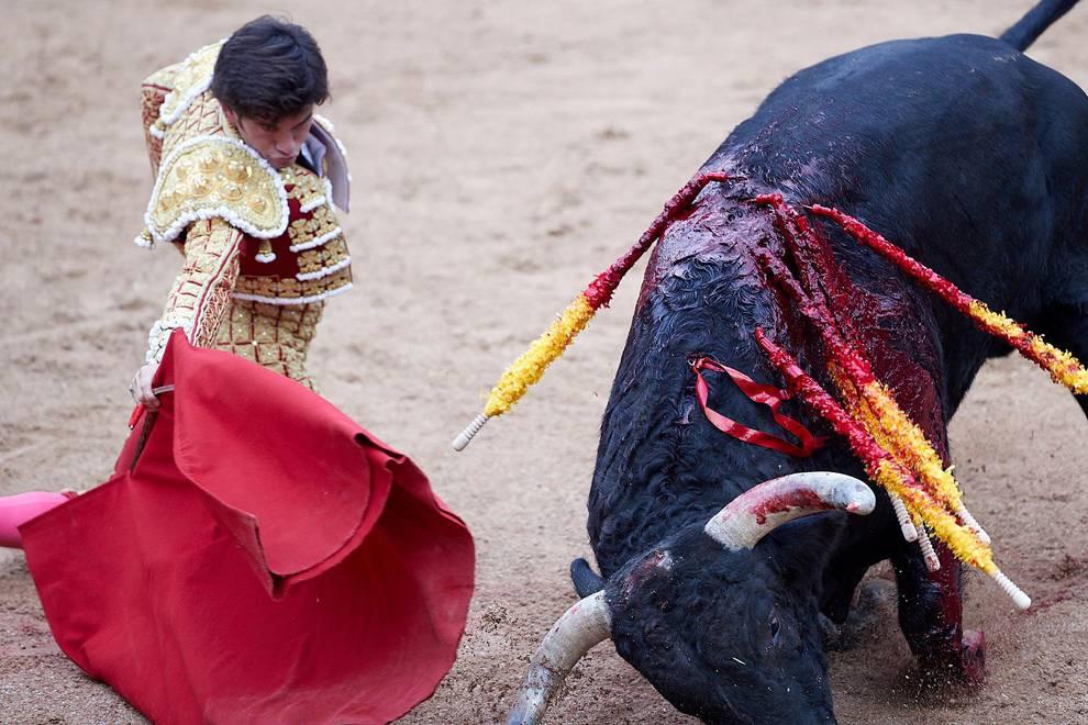 Fotos de la corrida del día 7 de julio (1/56) - Faena de los toros de la ganadería del Puerto de San Lorenzo para los diestros Paco Ureña, Román y José Garrido. - San Fermín -