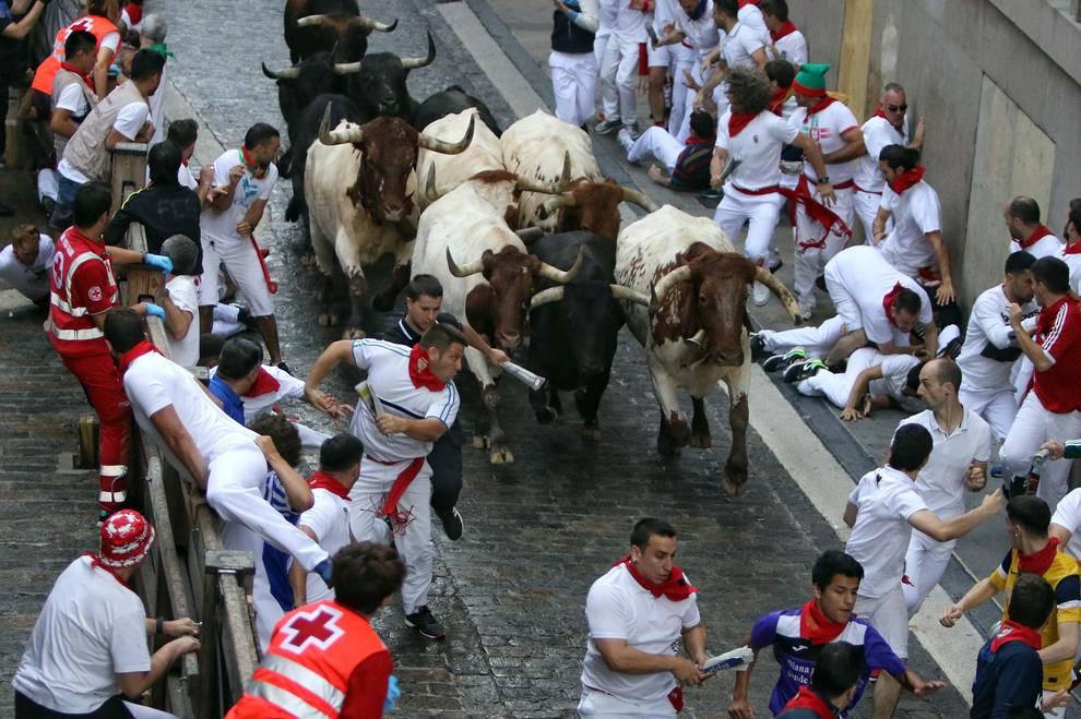 Fotos del sexto encierro de San Fermín 2018 (1/58) - Imágenes del sexto encierro de los Sanfermines 2018, con toros de la ganadería Victoriano del Río. - San Fermín -