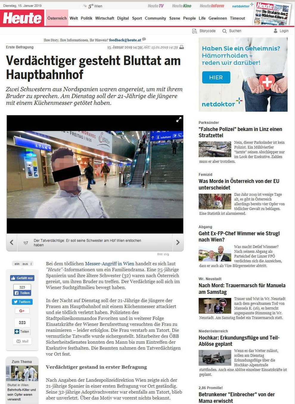 La noticia del crimen, portada este martes de los medios austriacos.
