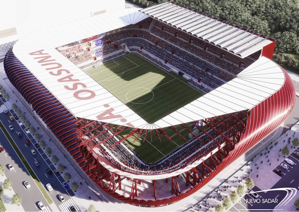 """Una vista aérea del proyecto de Nuevo Sadar, con un cubierta traslucida que cierra el estadio y unas fachadas """"envolventes""""."""