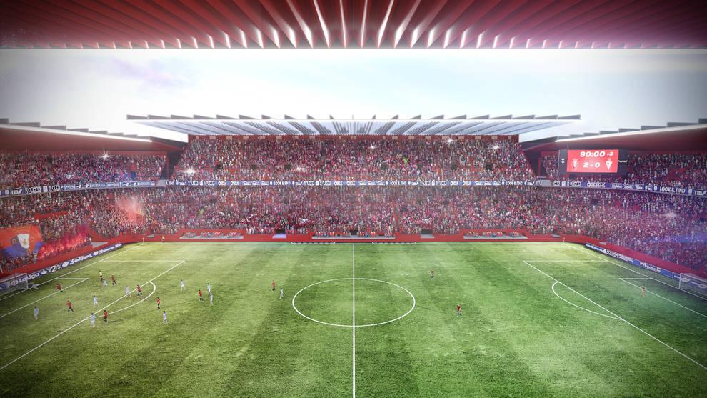 Una toma del interior de Rojo-Azul, donde destaca que la grada estará a escasos 50 centímetros del campo y completamente cubierta.