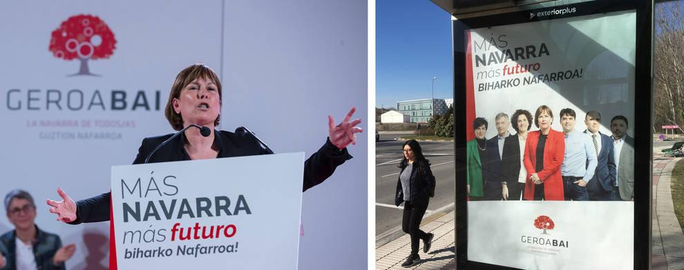 A la izquierda, Barkos en el acto preelectoral de Geroa Bai del pasado día 10; a la derecha, marquesina con la publicidad nacionalista.